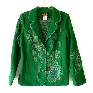 Bob Mackie Wearable Art Green Wool Blazer Small